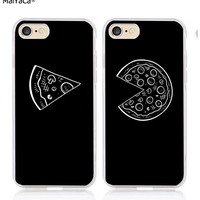 pizza best friends love pair BFF soft silicone transparent phone case for iphone 5s se 6 6s 6plus 7 7plus 8 8plus X XR XS MAX