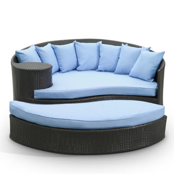 Tonga Outdoor Wicker Patio Daybed with Ottoman Espresso / Light Blue