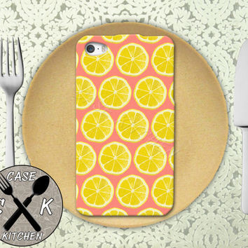 Lemon Slice Pattern Coral Pop Art Inspired Tumblr Cute Custom Rubber Tough Case iPhone 4/4s and iPhone 5/5s/5c and iPhone 6 and 6 Plus +