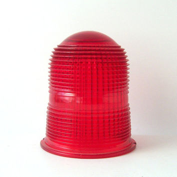 vintage red light glass cover dome safety emergency stop retro home decor mid century modern object textured shade lighting globe