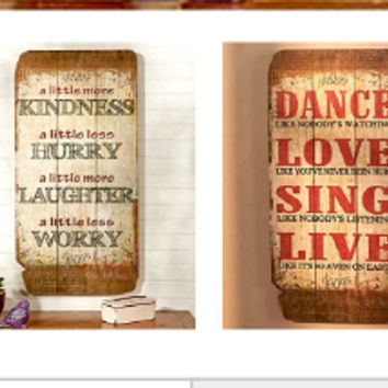 Large Rustic Sentiment Wall Plaque Sign Inspirational Motivational Wooden