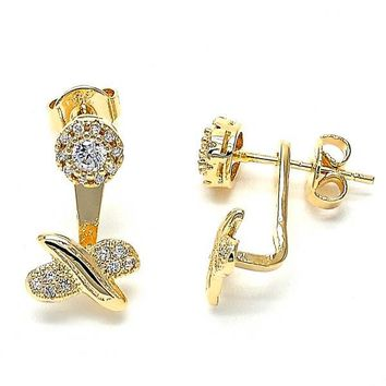 Gold Layered 02.199.0008 Stud Earring, Flower and Hugs and Kisses Design, with White Micro Pave, Polished Finish, Golden Tone