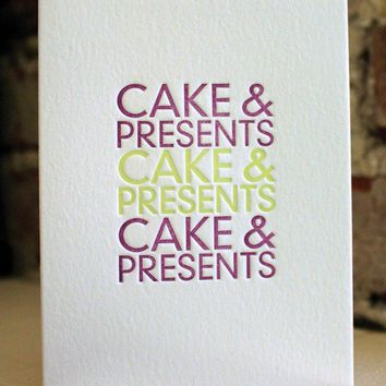 happy birthday cake & presents letterpress by shopsaplingpress