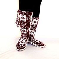 Burgundy and White, Long, Warm Slippers,Handmade Slippers, Mukluk