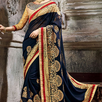 Blue and Beige Net Embroidered Saree