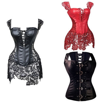 Faux Leather Overbust Corset Zipper and Lace Up Waist Cincher Satin  Lingerie Corset Dress  Tummy Belt Waist Trimmer Black Plus Size  S-6XL = 5659546497
