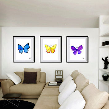 butterfly Set of 3 print watercolor painting decor nature illustration wall art decor print kid boy girl poster nursery blue purple yellow