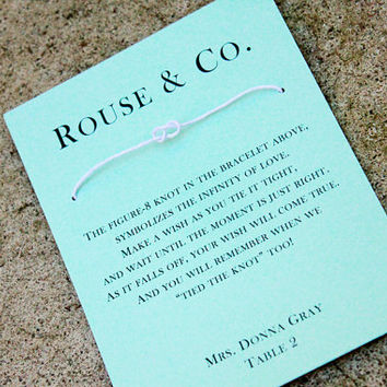 Tiffany Blue Wedding Place Cards, Tiffany Blue Wedding, Wedding place card favors, Wedding Wish bracelet, Set of 25 Tiffany Blue place cards