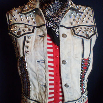bleached light blue denim studded punk vest small unisex
