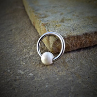 White Turquoise Bead Cartilage Tragus Helix Daith Body Jewelry Surgical Steel 16ga Rook