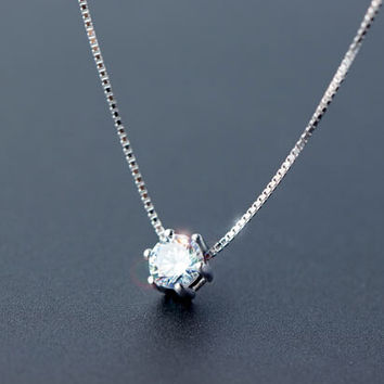 Exquisite rhinestone 925 sterling sliver necklace,simple fashion rhinestone necklace,a perfect gift