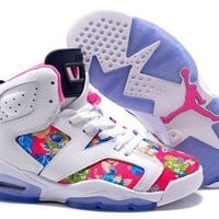 Hot Air Jordan 6 Retro Women Shoes Colorful White Blue