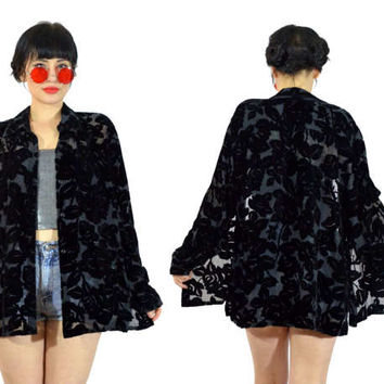 vintage 90s black velvet burnout duster jacket ROSE silk minimalist sheer oversized blouse top shirt vamp floral grunge gothic witchy L