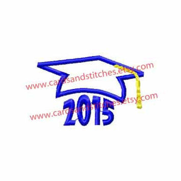Graduation Hat 2015 Applique Machine Embroidery Design (dst, exp, hus, jef, pes, vip, xxx, & svg)