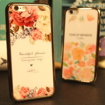 Cute Stylish Iphone 6/6s On Sale Hot Deal England Style Floral Mirror Couple Apple Phone Case [8383660679]