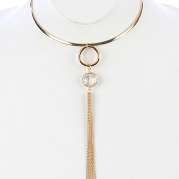 Jiya Double Ring with Chain Tassel Necklace