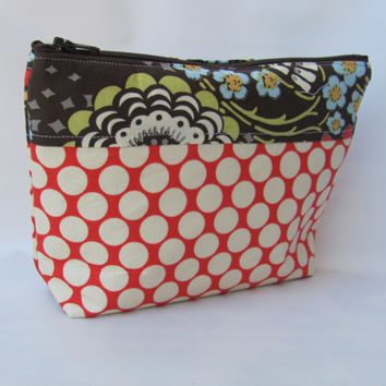 Cosmetic Bag, zippered pouch, makeup Bag Full Moon Polka dots Cherry Amy Butler Fabric