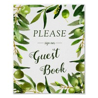 Elegant Olive Boho Summer Wedding Guestbook Sign