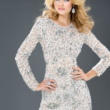 Jovani 78653 Long Sleeve Cocktail Dress