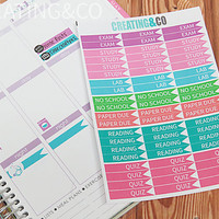 60 School Flag Planner Stickers