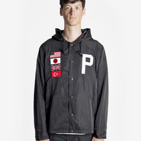 Four Flag Worldwide Hooded Windbreaker Coach Jacket in Black