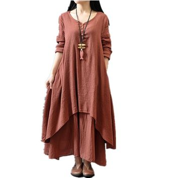Maxi Dresses Cotton Linen Long  Beach Casual Dress  Plus Size