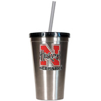 Nebraska Cornhuskers NCAA 16oz Stainless Steel Insulated Tumbler with Straw