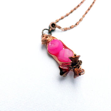 Pea Pod Necklace, Hot Pink Druzy Agate Necklace, Agate and Copper necklace by Lyrisgems