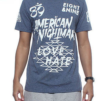 8&9 Clothing The American Nightmare Jersey Tee in Vintage Blue
