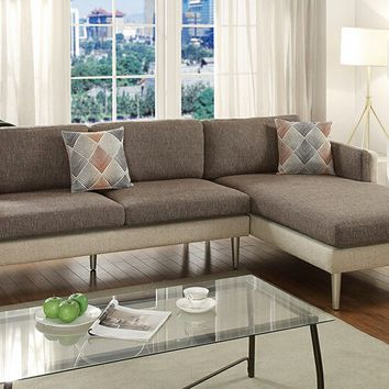 2 pc Retro modern collection coffee / platinum cotton blended fabric upholstered sectional sofa