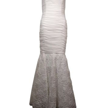 Betsy & Adam Women's Ruched Rosette Mesh Mermaid Strapless Gown