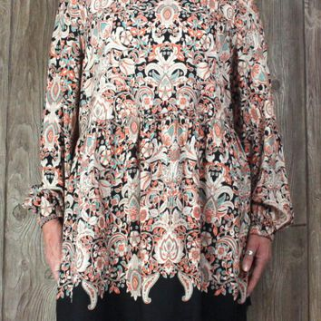 Pretty Tantrums Blouse XL size Black Multi Color Paisley Floral Top New
