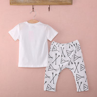 2016 Newborn Baby Boys 2-piece Clothing Outfits Letter Boss Printed T-shirt+Geometric Pattern Pants Clothes set 0-24M
