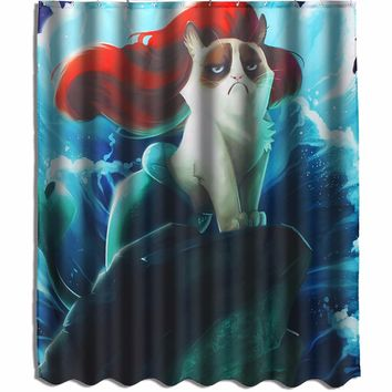 Custom Grumpy Cat  Little Mermaid Waterproof Fabric Shower Curtain 60x72 Inch