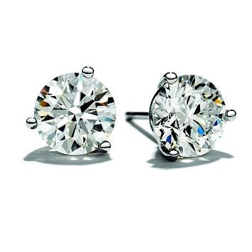 1.00 Carat Moissanite Stud Earrings Set in a 3 Prong Martini Setting