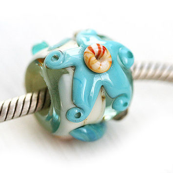 Starfish Large hole bead, Beach blue, handmade lampwork glass - fits all European Charm Bracelets - SRA, by MayaHoney