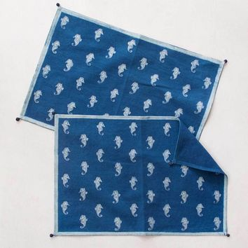 Seahorse Block Print Placemats, Set of 2