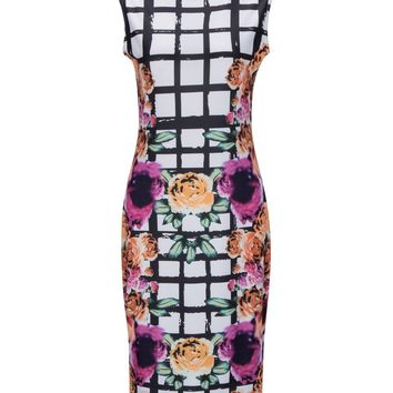 Streetstyle  Casual Round Neck Plaid Floral Printed Bodycon Dress