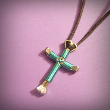 NEW COLOR Turquoise Wire Wrapped Cross, Horseshoe Nail Disciples Cross, Handmade, Christian Turquoise Wire Wrapped Cross, Gift Idea, Jesus