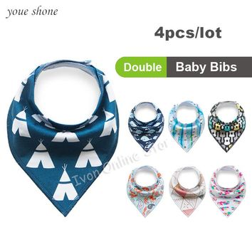 Promotion!!! 0-3Y 2017 Super Cute Ins Baby Bandana Bibs 4pcs/lot Newborn Infant Feeding Triangle Fox cartoon Burp Cotton Clothes