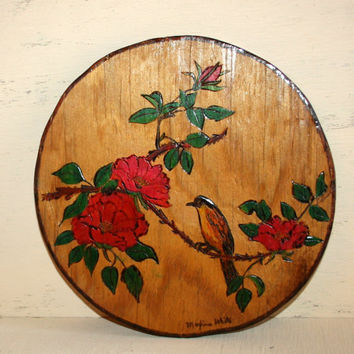 Hand Colored Wood Burning Bird Plaque Cabin Decor Rustic Decor Adirondack Home Decor Pyrography Vintage Handmade Woodburning Round Wall Art