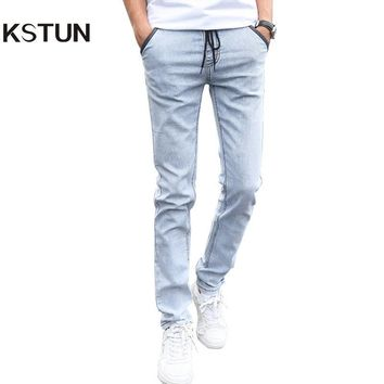 Mens Denim Jeans Men Drawstring Slim Fit Denim Joggers Men Stretch Pockets Jean Pencil Pants Casual Blue Jeans Man Big Size 38