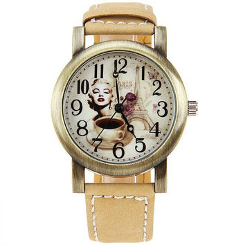 Astina Quartz Watch with Numbers Indicate Leather Watchband for Women (Yellow)