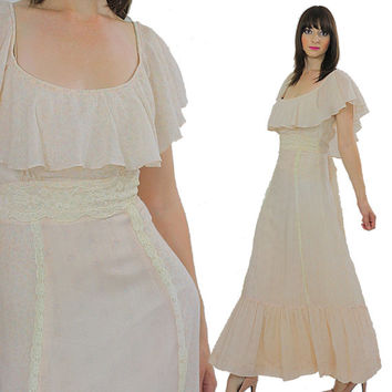 Vintage Boho bridal dress Boho dress Prairie maxi dress Hippie wedding dress Hippie dress 70s Boho maxi dress Festival dress Ruffle dress S