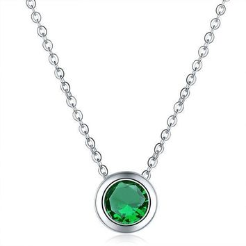 Mental Health Awareness Round Crystal Necklace