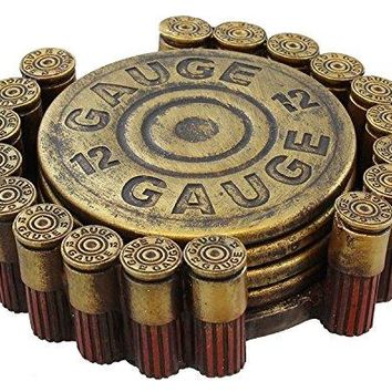 12 Gauge Shotgun Shell Bullet Cap Coaster Set 5pc Mancave Hunting Lodge Decor