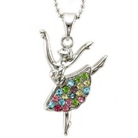 Multi Colorful Dancing Ballerina Dancer Dance Pendant Necklace Charm Designer Ballet Jewelry