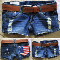 Womens American Flag Pattern Denim Shorts