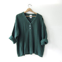 vintage army green sweater. slouchy sweater. henley pullover. oversized cozy fit.