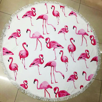 Fun Pink Flamingo Animal Print Large Round Beach Towel Blanket with Fringe Vacation Beach Summer